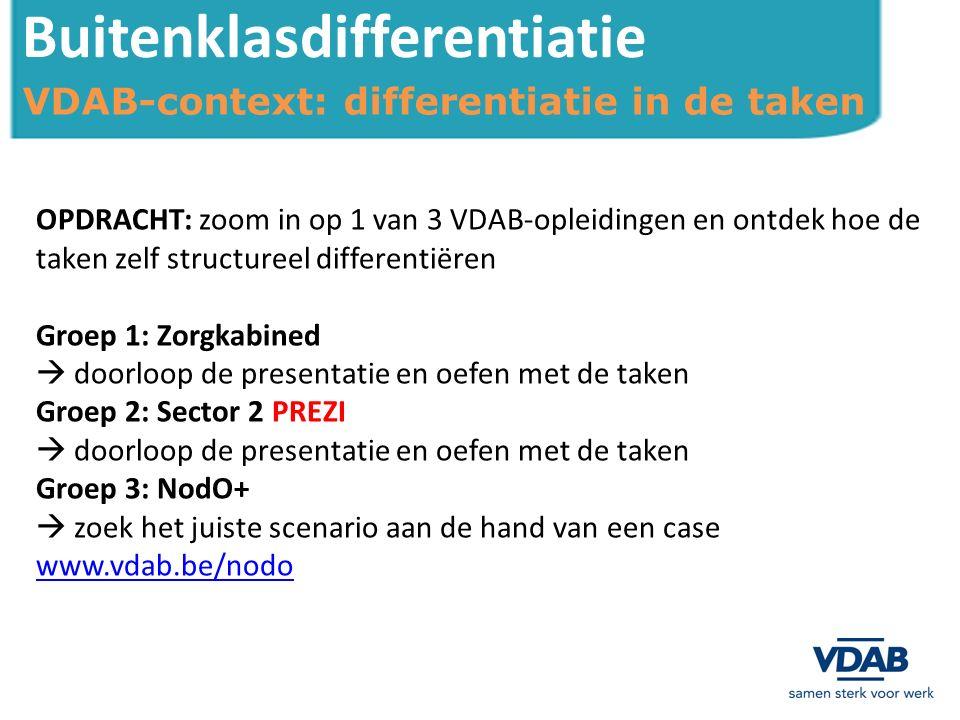 Buitenklasdifferentiatie OPDRACHT: zoom in op 1 van 3 VDAB-opleidingen en ontdek hoe de taken zelf structureel differentiëren Groep 1: Zorgkabined  doorloop de presentatie en oefen met de taken Groep 2: Sector 2 PREZI  doorloop de presentatie en oefen met de taken Groep 3: NodO+  zoek het juiste scenario aan de hand van een case www.vdab.be/nodo VDAB-context: differentiatie in de taken