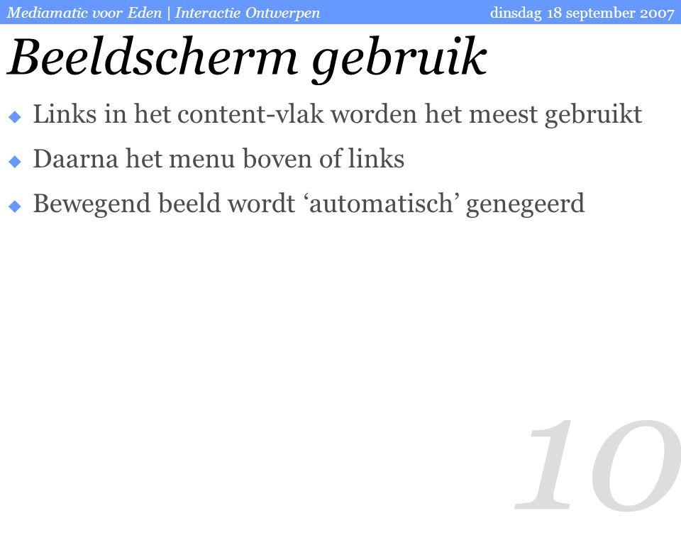 10 dinsdag 18 september 2007Mediamatic voor Eden | Interactie Ontwerpen Beeldscherm gebruik  Links in het content-vlak worden het meest gebruikt  Daarna het menu boven of links  Bewegend beeld wordt 'automatisch' genegeerd