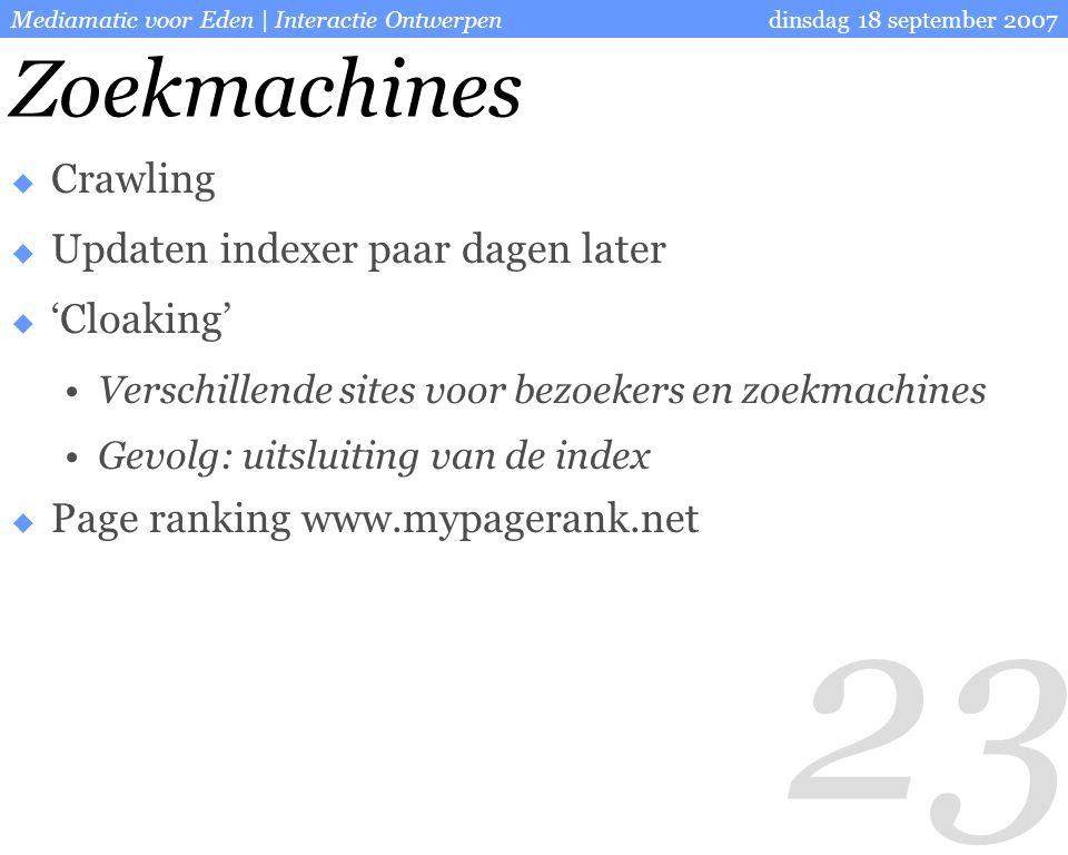 23 dinsdag 18 september 2007Mediamatic voor Eden | Interactie Ontwerpen Zoekmachines  Crawling  Updaten indexer paar dagen later  'Cloaking' Verschillende sites voor bezoekers en zoekmachines Gevolg: uitsluiting van de index  Page ranking www.mypagerank.net