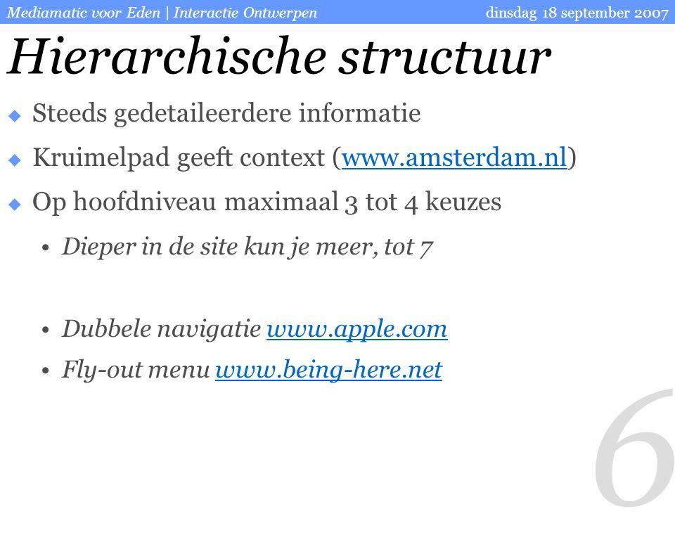 7 dinsdag 18 september 2007Mediamatic voor Eden | Interactie Ontwerpen Lineaire structuur  Gebruiker moet een aantal stappen doorlopen  Gebruiker niet afleiden  Hoever ben ik al  Hoever moet ik nog www.stemwijzer.nl Afrekenen in webwinkels