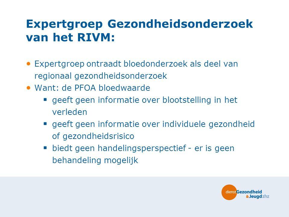 Expertgroep Gezondheidsonderzoek van het RIVM: Expertgroep ontraadt bloedonderzoek als deel van regionaal gezondheidsonderzoek Want: de PFOA bloedwaar