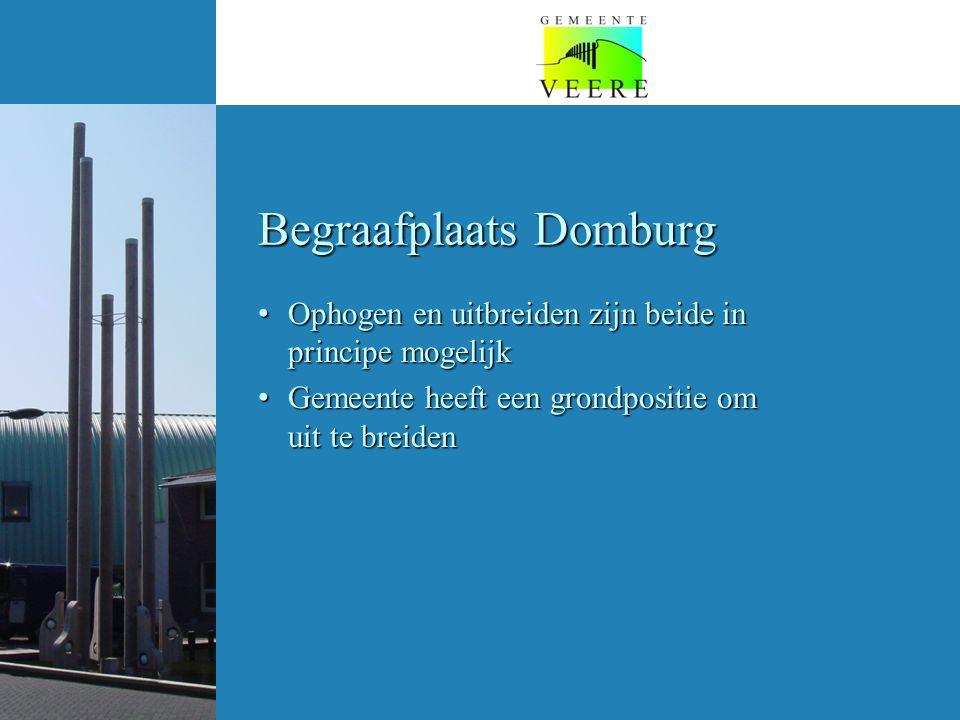 Begraafplaats Domburg Ophogen en uitbreiden zijn beide in principe mogelijk Ophogen en uitbreiden zijn beide in principe mogelijk Gemeente heeft een grondpositie om uit te breiden Gemeente heeft een grondpositie om uit te breiden