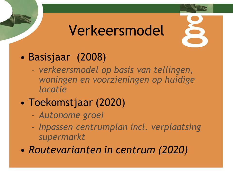 Verkeersmodel Basisjaar (2008) –verkeersmodel op basis van tellingen, woningen en voorzieningen op huidige locatie Toekomstjaar (2020) –Autonome groei –Inpassen centrumplan incl.