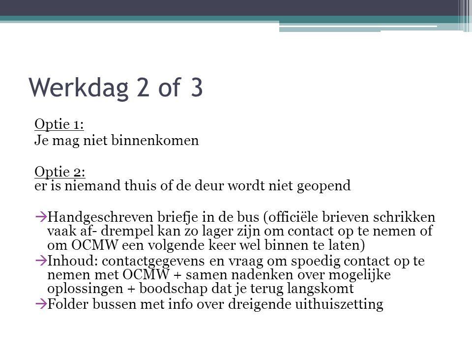 Werkdag 2 of 3 Optie 1: Je mag niet binnenkomen Optie 2: er is niemand thuis of de deur wordt niet geopend  Handgeschreven briefje in de bus (officië