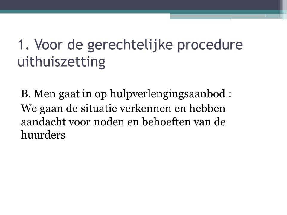 1. Voor de gerechtelijke procedure uithuiszetting B. Men gaat in op hulpverlengingsaanbod : We gaan de situatie verkennen en hebben aandacht voor node