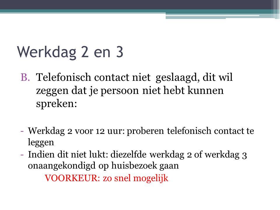 Werkdag 2 en 3 B.Telefonisch contact niet geslaagd, dit wil zeggen dat je persoon niet hebt kunnen spreken: -Werkdag 2 voor 12 uur: proberen telefonis