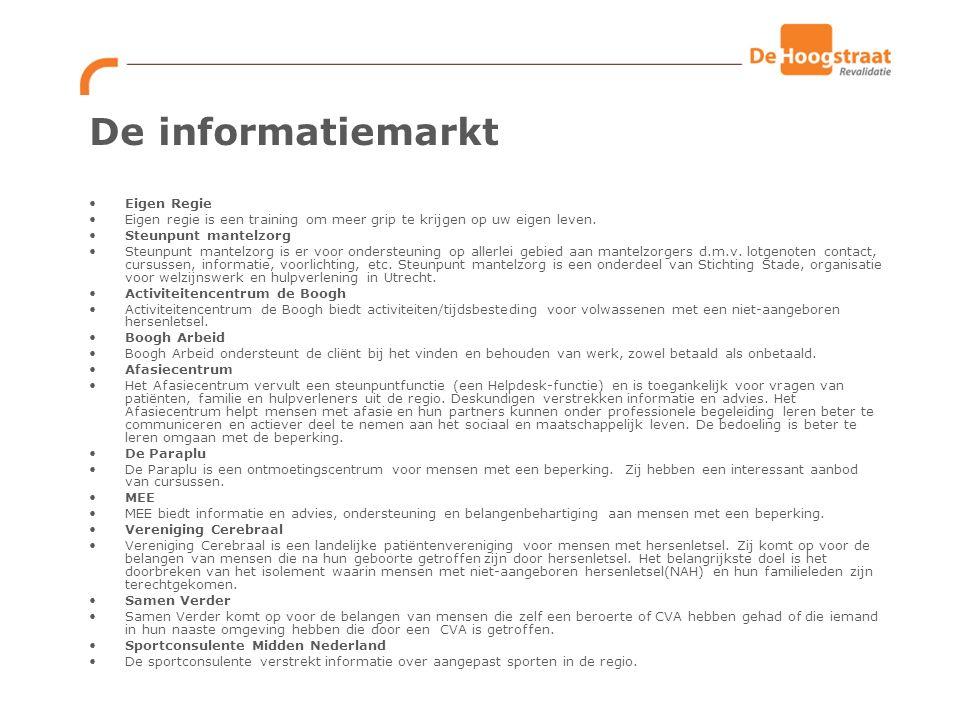 De informatiemarkt Eigen Regie Eigen regie is een training om meer grip te krijgen op uw eigen leven.