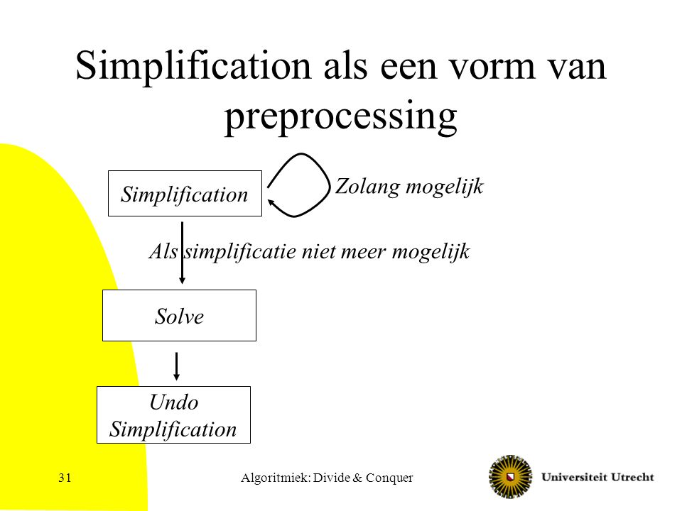 Algoritmiek: Divide & Conquer31 Simplification als een vorm van preprocessing Simplification Solve Undo Simplification Zolang mogelijk Als simplificatie niet meer mogelijk