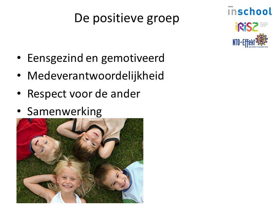 De positieve groep Eensgezind en gemotiveerd Medeverantwoordelijkheid Respect voor de ander Samenwerking