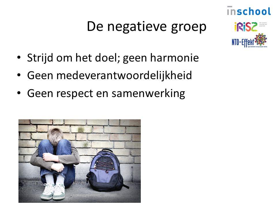 De negatieve groep Strijd om het doel; geen harmonie Geen medeverantwoordelijkheid Geen respect en samenwerking