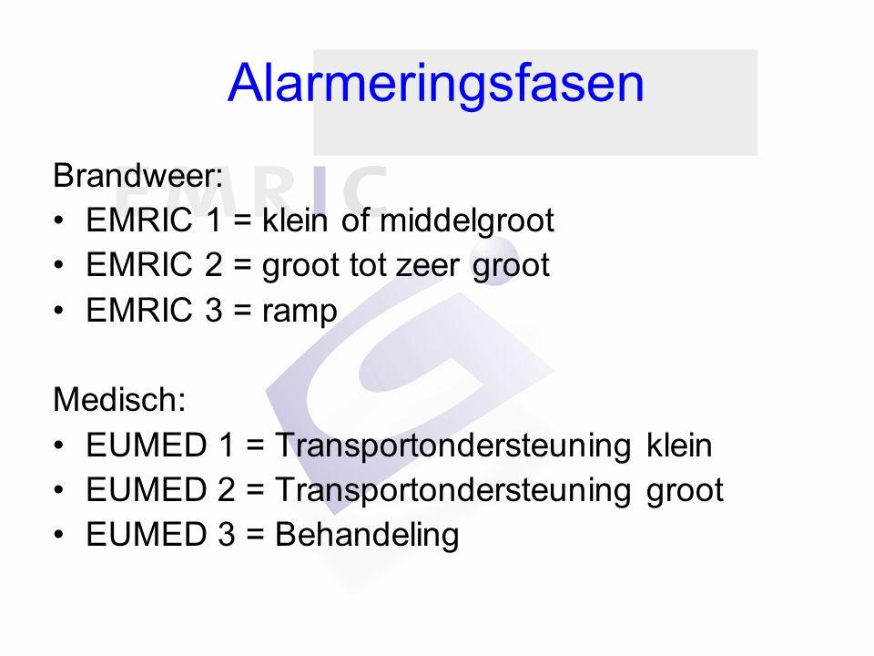 Alarmeringsfasen Brandweer: EMRIC 1 = klein of middelgroot EMRIC 2 = groot tot zeer groot EMRIC 3 = ramp Medisch: EUMED 1 = Transportondersteuning klein EUMED 2 = Transportondersteuning groot EUMED 3 = Behandeling