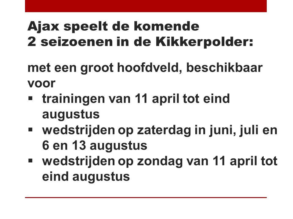 Ajax speelt de komende 2 seizoenen in de Kikkerpolder: met een groot hoofdveld, beschikbaar voor  trainingen van 11 april tot eind augustus  wedstrijden op zaterdag in juni, juli en 6 en 13 augustus  wedstrijden op zondag van 11 april tot eind augustus