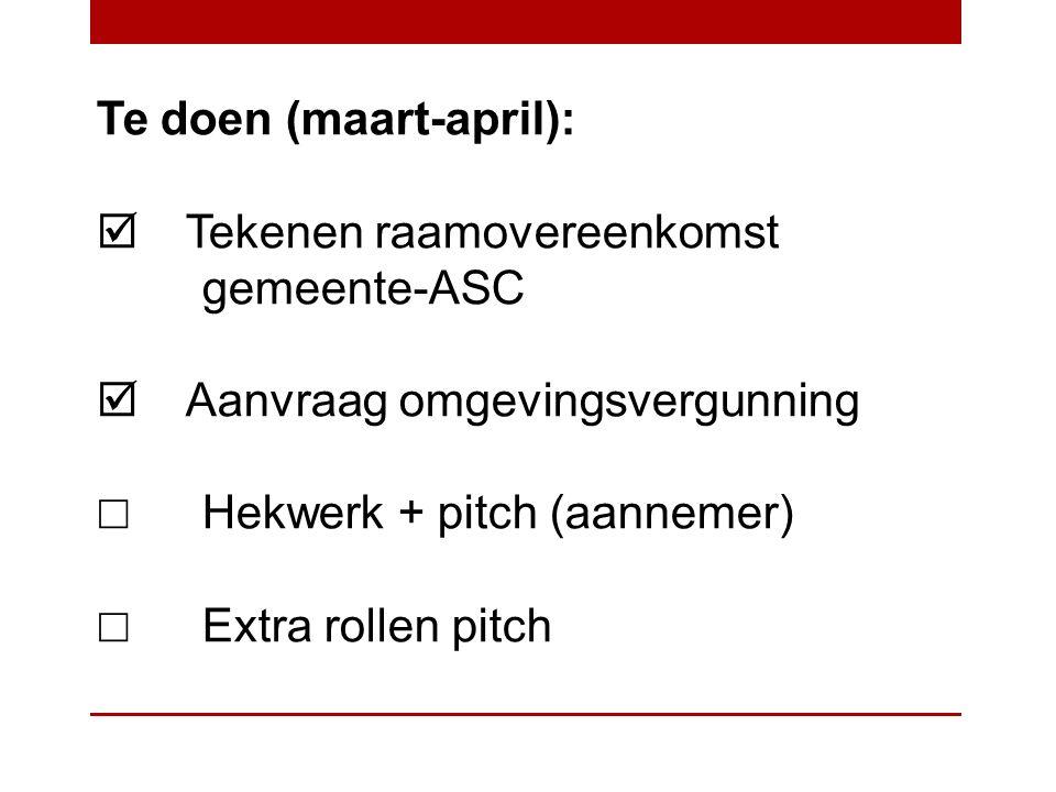 Te doen (maart-april):  Tekenen raamovereenkomst gemeente-ASC  Aanvraag omgevingsvergunning ☐ Hekwerk + pitch (aannemer) ☐ Extra rollen pitch