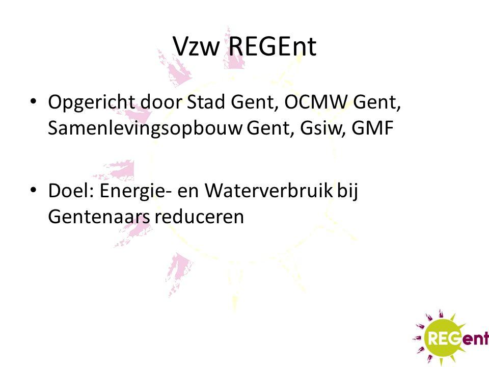 Vzw REGEnt Opgericht door Stad Gent, OCMW Gent, Samenlevingsopbouw Gent, Gsiw, GMF Doel: Energie- en Waterverbruik bij Gentenaars reduceren