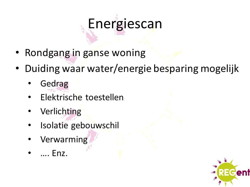 Energiescan Rondgang in ganse woning Duiding waar water/energie besparing mogelijk Gedrag Elektrische toestellen Verlichting Isolatie gebouwschil Verwarming ….