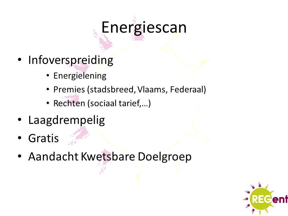 Energiescan Infoverspreiding Energielening Premies (stadsbreed, Vlaams, Federaal) Rechten (sociaal tarief,…) Laagdrempelig Gratis Aandacht Kwetsbare Doelgroep