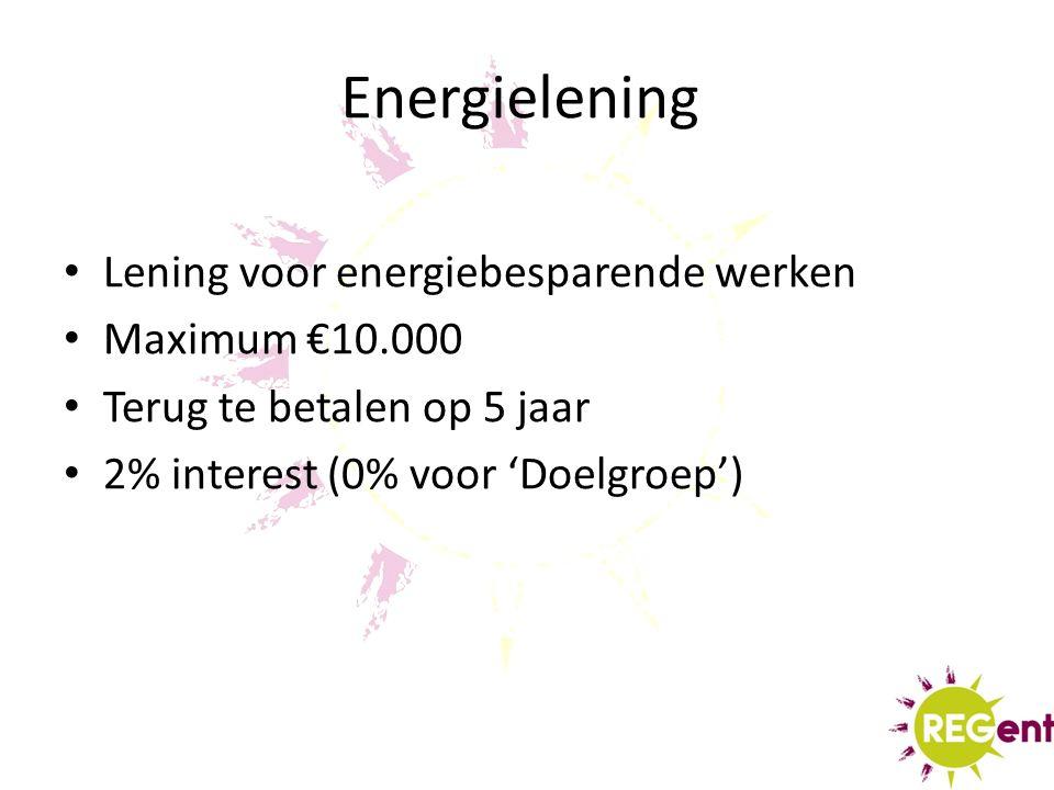 Energielening Lening voor energiebesparende werken Maximum €10.000 Terug te betalen op 5 jaar 2% interest (0% voor 'Doelgroep')