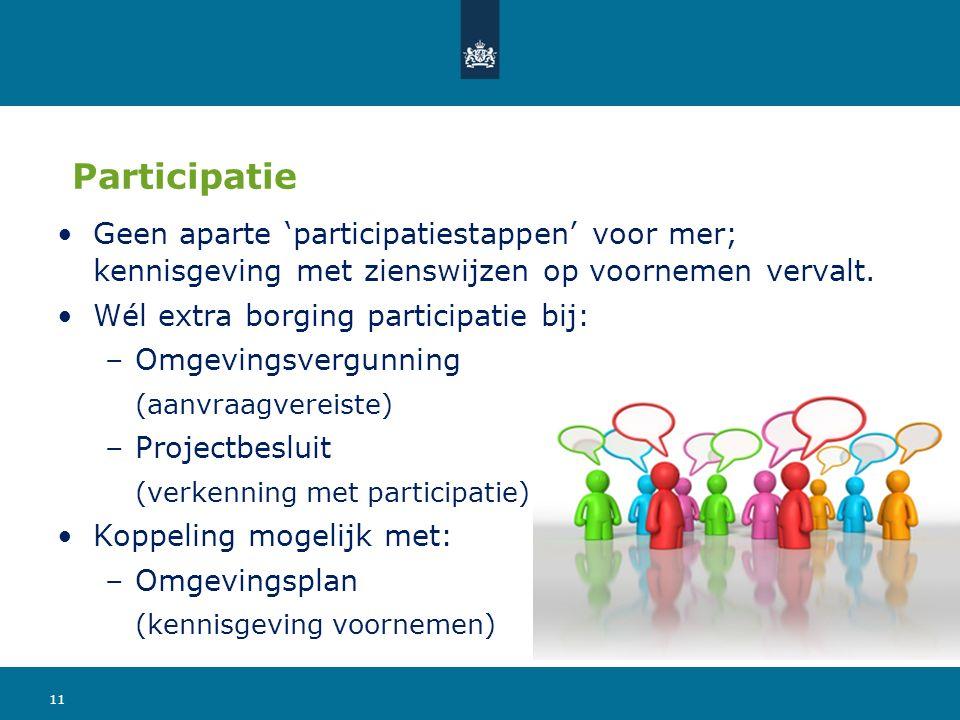 Participatie Geen aparte 'participatiestappen' voor mer; kennisgeving met zienswijzen op voornemen vervalt. Wél extra borging participatie bij: –Omgev