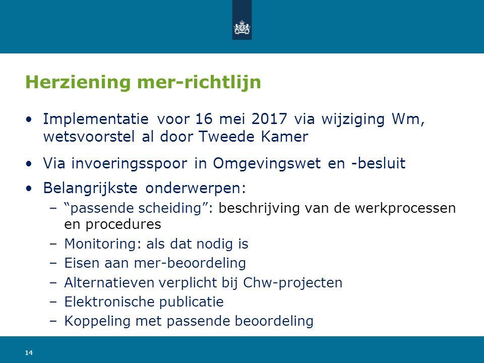 Herziening mer-richtlijn Implementatie voor 16 mei 2017 via wijziging Wm, wetsvoorstel al door Tweede Kamer Via invoeringsspoor in Omgevingswet en -be