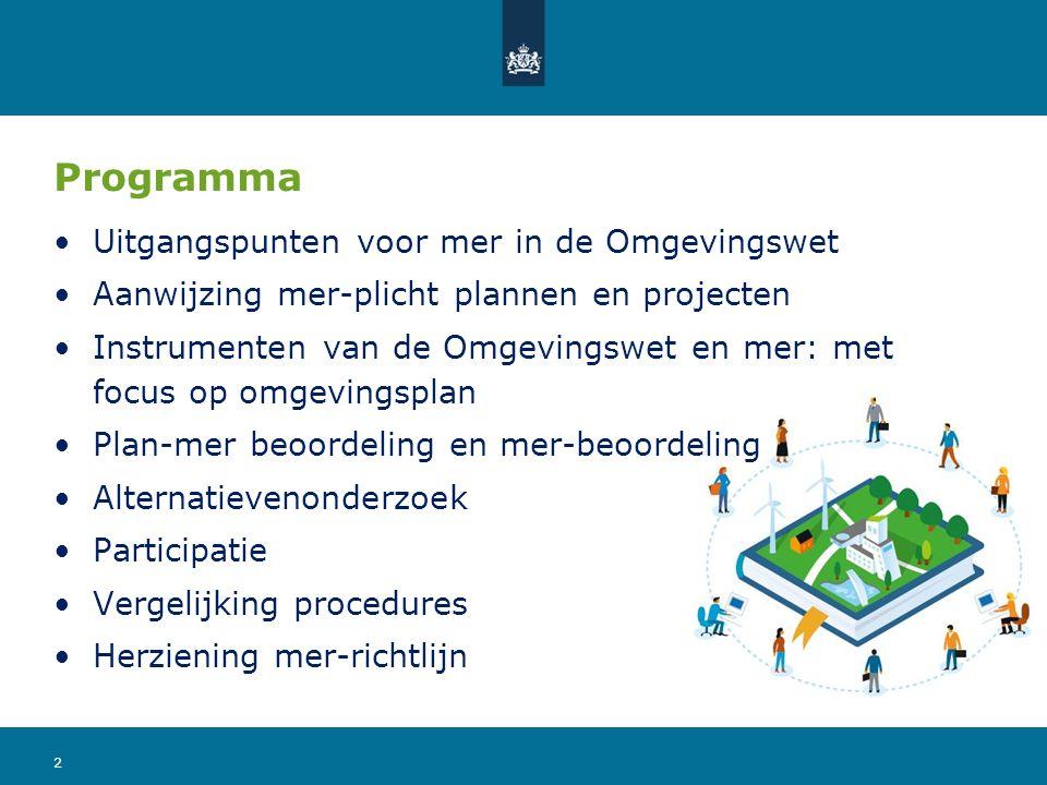 Uitgangspunten mer in de Omgevingswet Aansluiten bij EU-richtlijnen Mer geen moetje, draagt bij aan besluitvorming Zoveel mogelijk geïntegreerd in procedure plan of project Het bevoegd gezag is verantwoordelijk voor de kwaliteit 3
