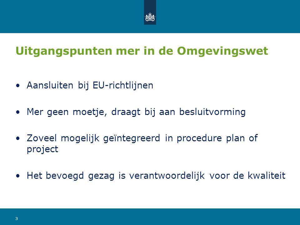 Uitgangspunten mer in de Omgevingswet Aansluiten bij EU-richtlijnen Mer geen moetje, draagt bij aan besluitvorming Zoveel mogelijk geïntegreerd in pro