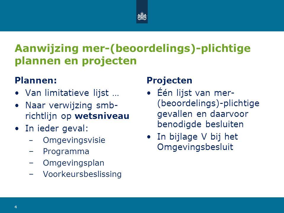 Aanwijzing mer-(beoordelings)-plichtige plannen en projecten Plannen: Van limitatieve lijst … Naar verwijzing smb- richtlijn op wetsniveau In ieder ge