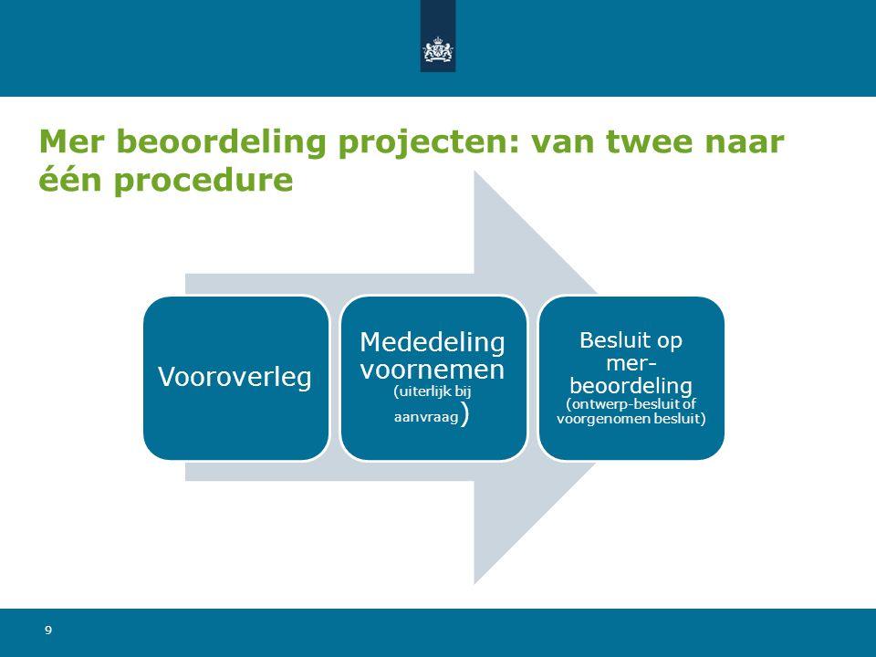 Mer beoordeling projecten: van twee naar één procedure 9 Vooroverleg Mededeling voornemen (uiterlijk bij aanvraag ) Besluit op mer- beoordeling (ontwe