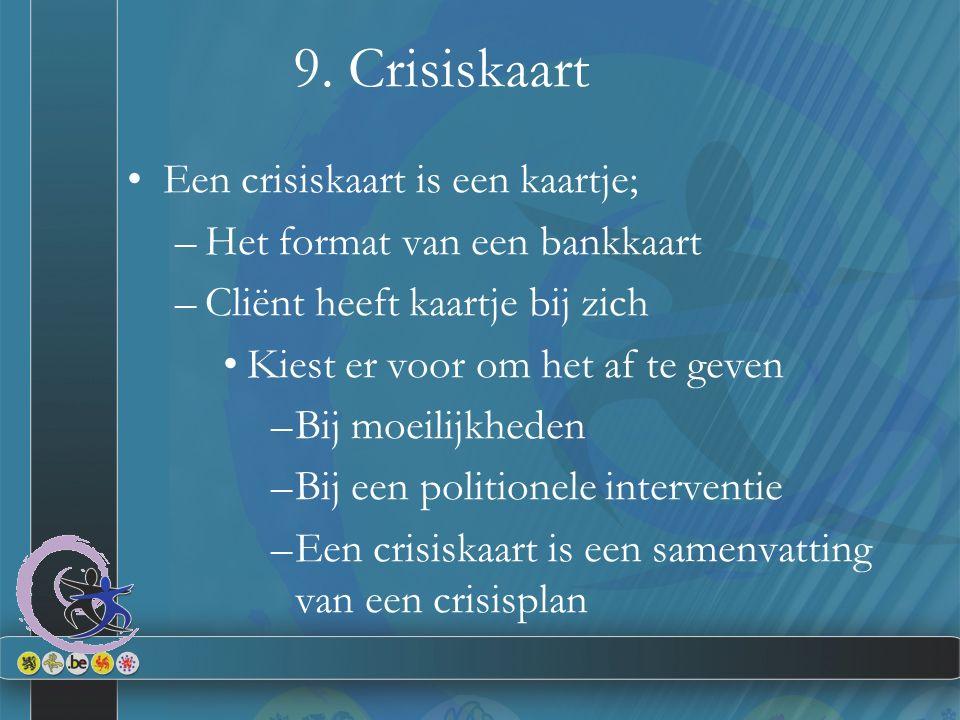9. Crisiskaart Een crisiskaart is een kaartje; –Het format van een bankkaart –Cliënt heeft kaartje bij zich Kiest er voor om het af te geven –Bij moei