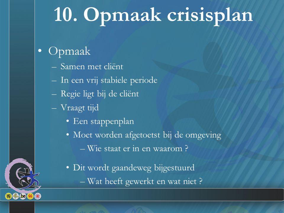 10. Opmaak crisisplan Opmaak –Samen met cliënt –In een vrij stabiele periode –Regie ligt bij de cliënt –Vraagt tijd Een stappenplan Moet worden afgeto