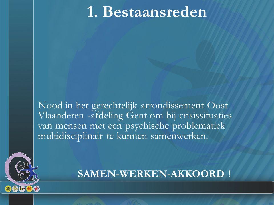 1. Bestaansreden Nood in het gerechtelijk arrondissement Oost Vlaanderen -afdeling Gent om bij crisissituaties van mensen met een psychische problemat