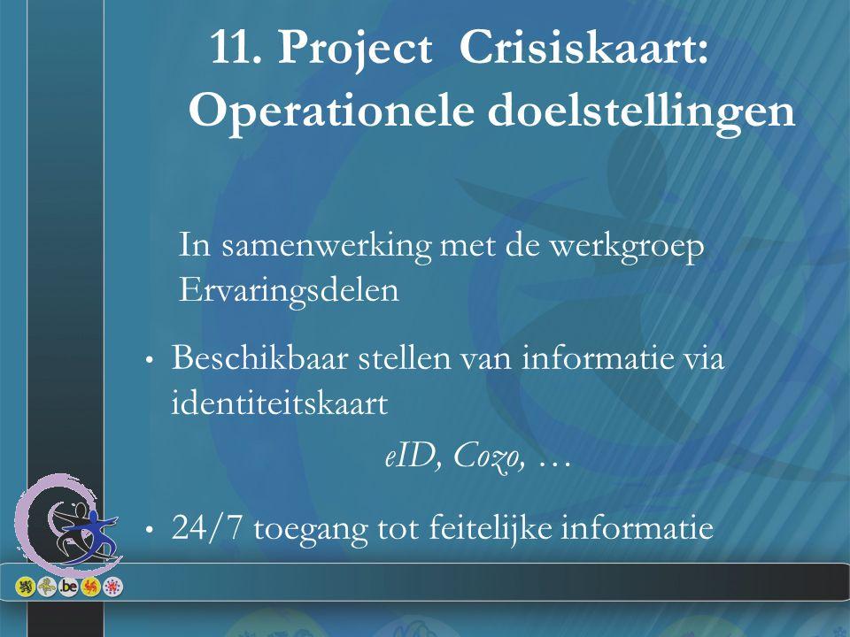 11. Project Crisiskaart: Operationele doelstellingen In samenwerking met de werkgroep Ervaringsdelen Beschikbaar stellen van informatie via identiteit