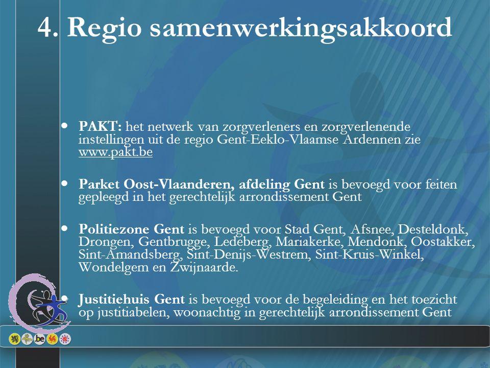 4. Regio samenwerkingsakkoord PAKT: het netwerk van zorgverleners en zorgverlenende instellingen uit de regio Gent-Eeklo-Vlaamse Ardennen zie www.pakt