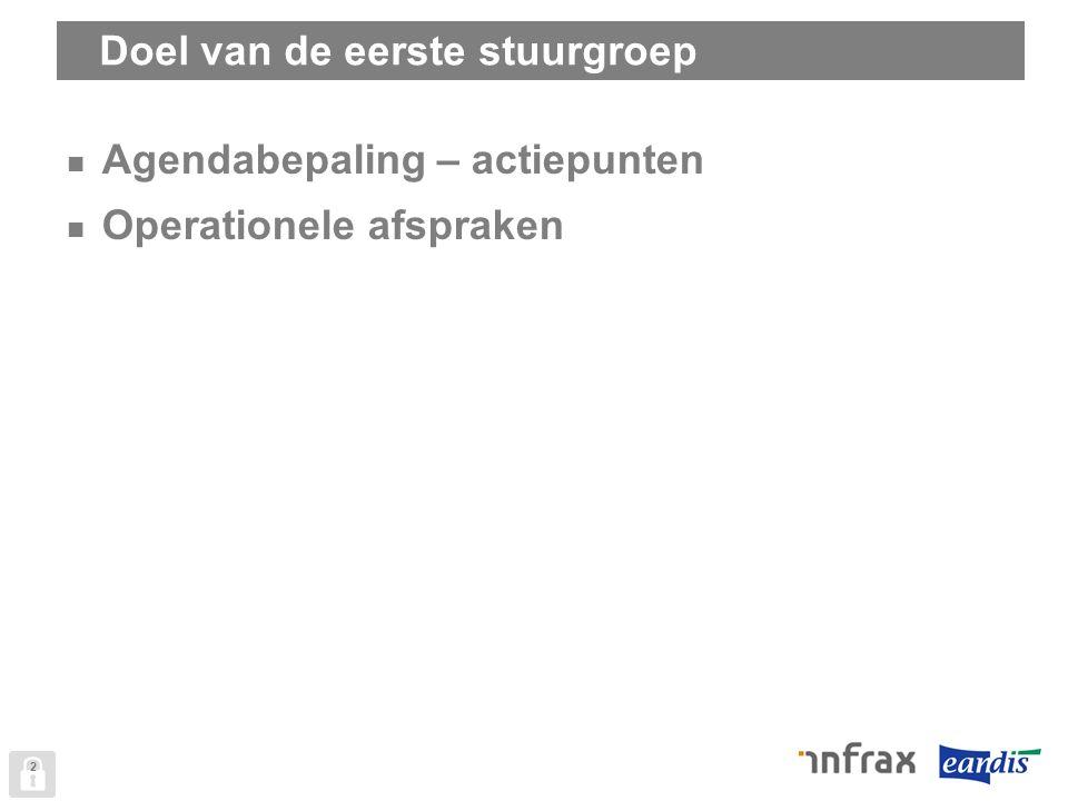 Doel van de eerste stuurgroep Agendabepaling – actiepunten Operationele afspraken 2