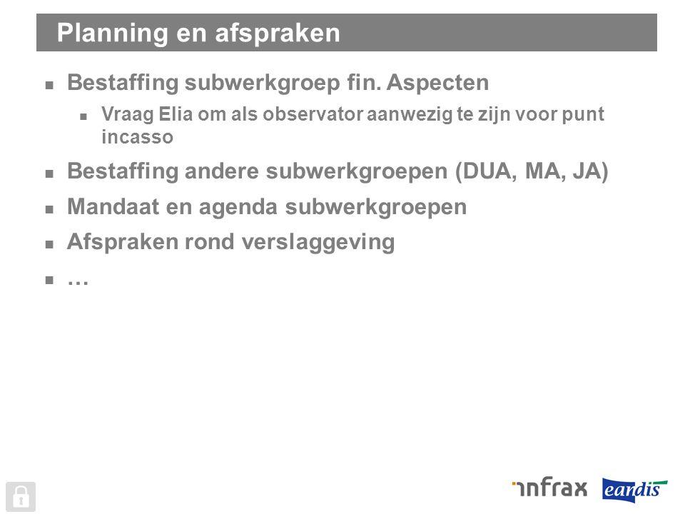 Planning en afspraken Bestaffing subwerkgroep fin.