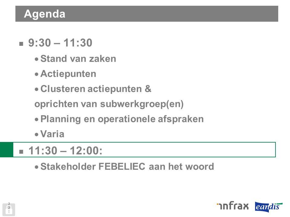 Agenda 9:30 – 11:30  Stand van zaken  Actiepunten  Clusteren actiepunten & oprichten van subwerkgroep(en)  Planning en operationele afspraken  Varia 11:30 – 12:00:  Stakeholder FEBELIEC aan het woord 22