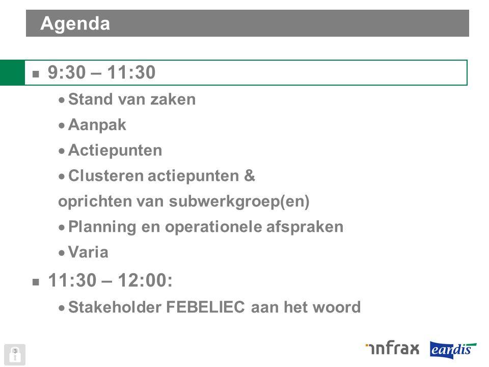 Agenda 9:30 – 11:30  Stand van zaken  Aanpak  Actiepunten  Clusteren actiepunten & oprichten van subwerkgroep(en)  Planning en operationele afspraken  Varia 11:30 – 12:00:  Stakeholder FEBELIEC aan het woord 3