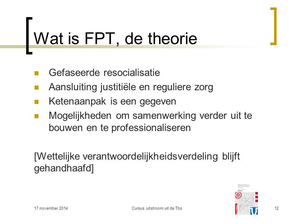 Wat is FPT, de theorie Gefaseerde resocialisatie Aansluiting justitiële en reguliere zorg Ketenaanpak is een gegeven Mogelijkheden om samenwerking ver