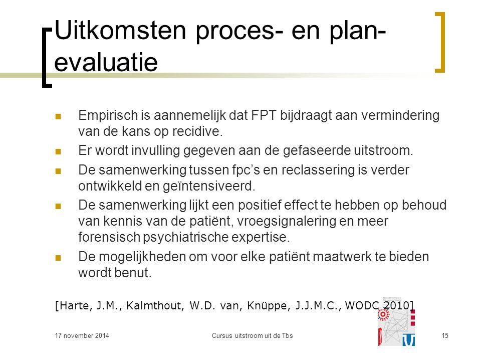 Uitkomsten proces- en plan- evaluatie Empirisch is aannemelijk dat FPT bijdraagt aan vermindering van de kans op recidive.