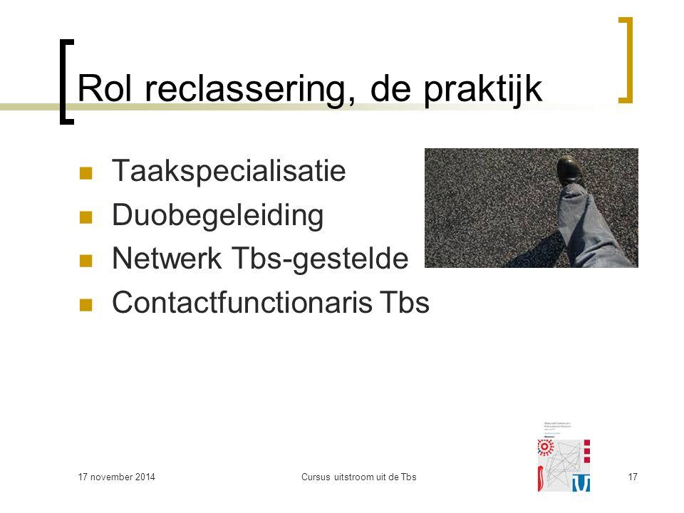 17 november 2014Cursus uitstroom uit de Tbs17 Rol reclassering, de praktijk Taakspecialisatie Duobegeleiding Netwerk Tbs-gestelde Contactfunctionaris Tbs