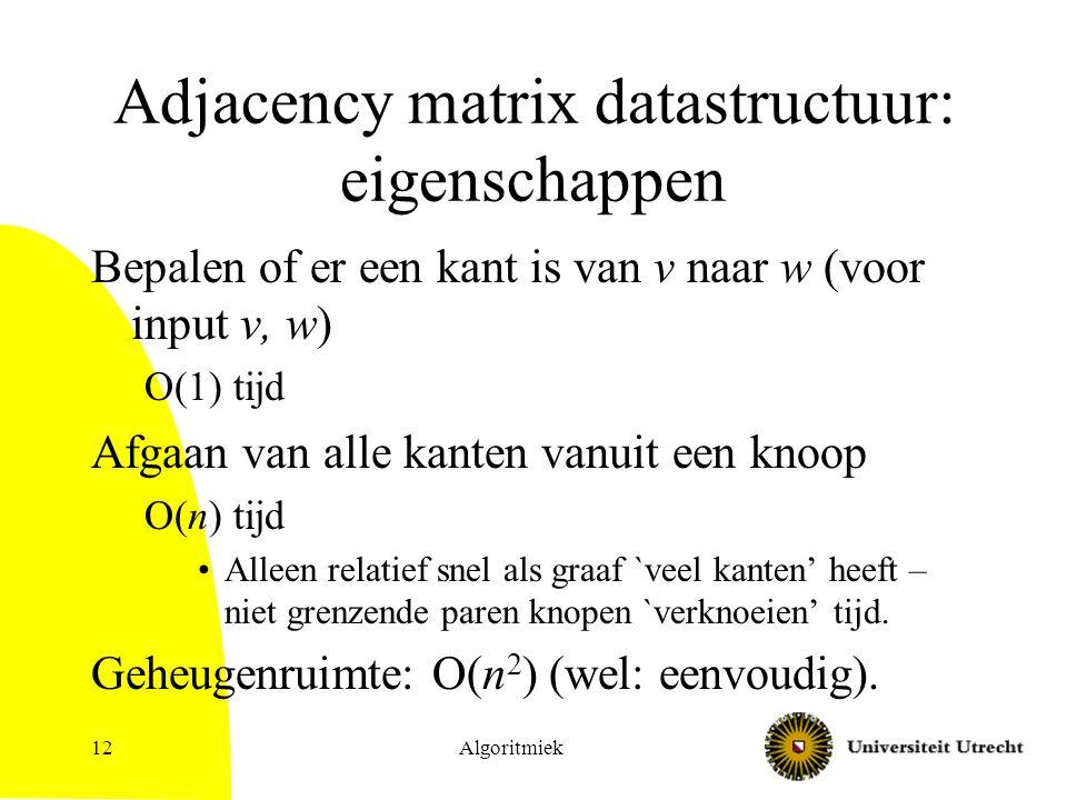Algoritmiek12 Adjacency matrix datastructuur: eigenschappen Bepalen of er een kant is van v naar w (voor input v, w) O(1) tijd Afgaan van alle kanten