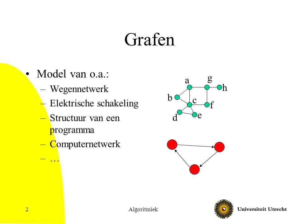 2 Grafen Model van o.a.: –Wegennetwerk –Elektrische schakeling –Structuur van een programma –Computernetwerk –… a b c d e f g h