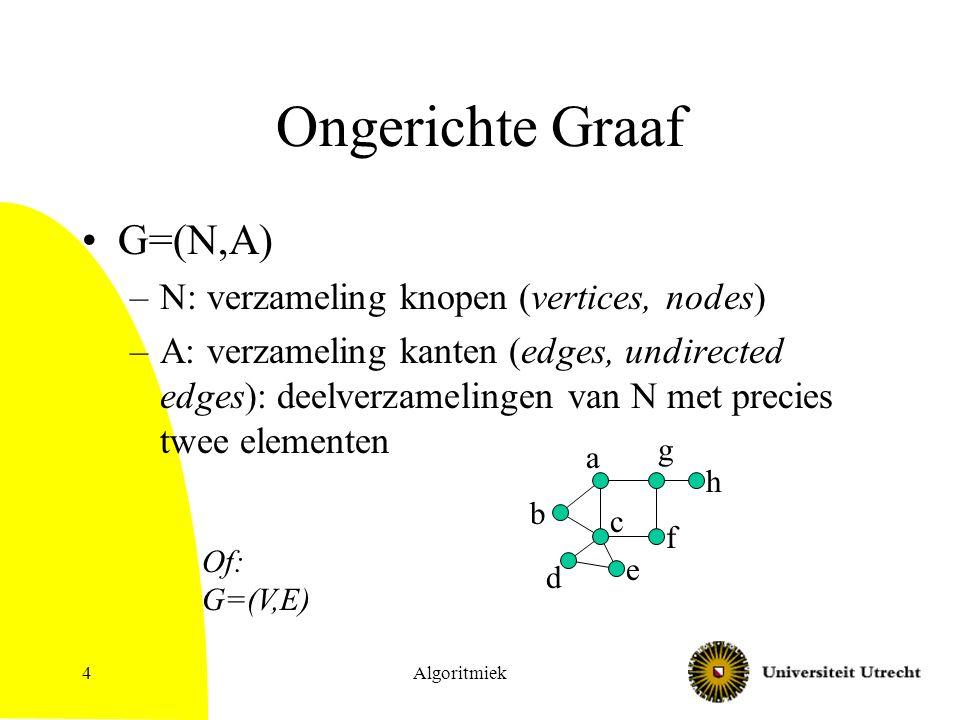 Algoritmiek4 Ongerichte Graaf G=(N,A) –N: verzameling knopen (vertices, nodes) –A: verzameling kanten (edges, undirected edges): deelverzamelingen van N met precies twee elementen a b c d e f g h Of: G=(V,E)