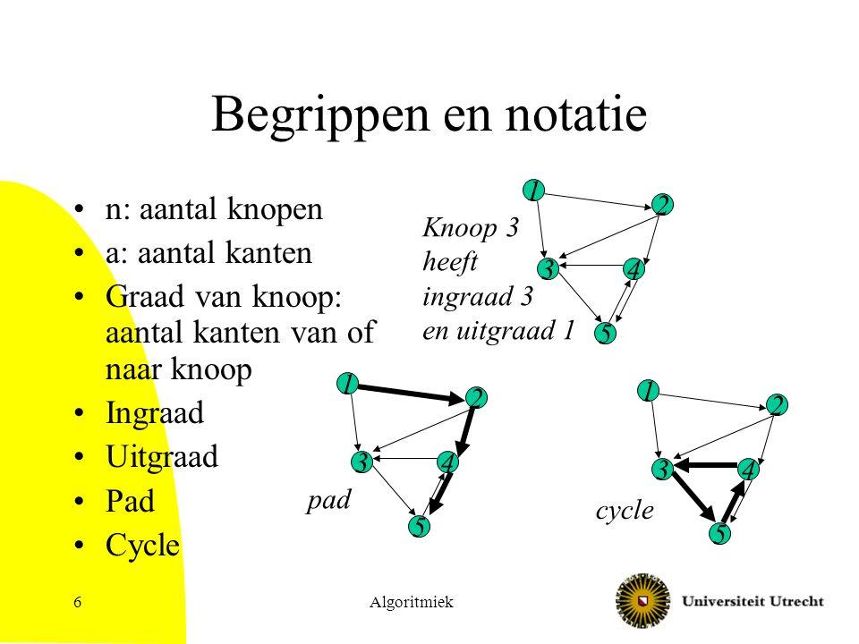 Algoritmiek6 Begrippen en notatie n: aantal knopen a: aantal kanten Graad van knoop: aantal kanten van of naar knoop Ingraad Uitgraad Pad Cycle 1 2 4 5 3 Knoop 3 heeft ingraad 3 en uitgraad 1 pad 1 2 4 5 3 1 2 4 5 3 cycle