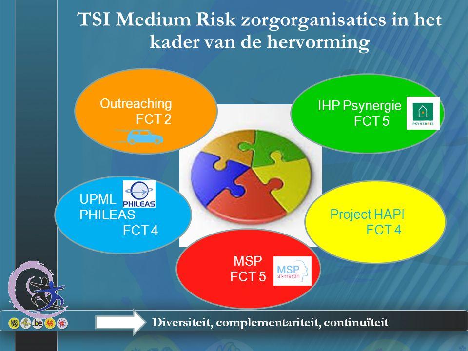 TSI Medium Risk zorgorganisaties in het kader van de hervorming UPML PHILEAS FCT 4 Outreaching FCT 2 MSP FCT 5 IHP Psynergie FCT 5 Project HAPI FCT 4
