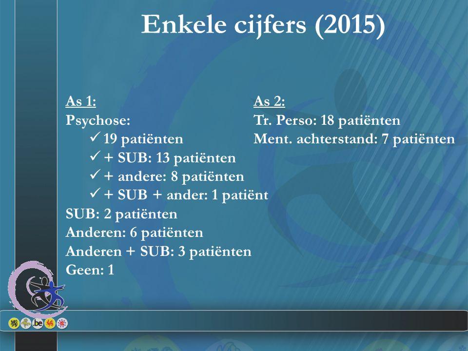 Enkele cijfers (2015) As 1: Psychose: 19 patiënten + SUB: 13 patiënten + andere: 8 patiënten + SUB + ander: 1 patiënt SUB: 2 patiënten Anderen: 6 pati