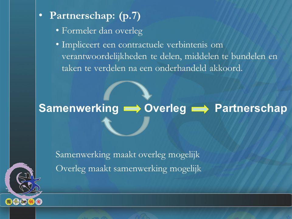 Partnerschap: (p.7) Formeler dan overleg Impliceert een contractuele verbintenis om verantwoordelijkheden te delen, middelen te bundelen en taken te v