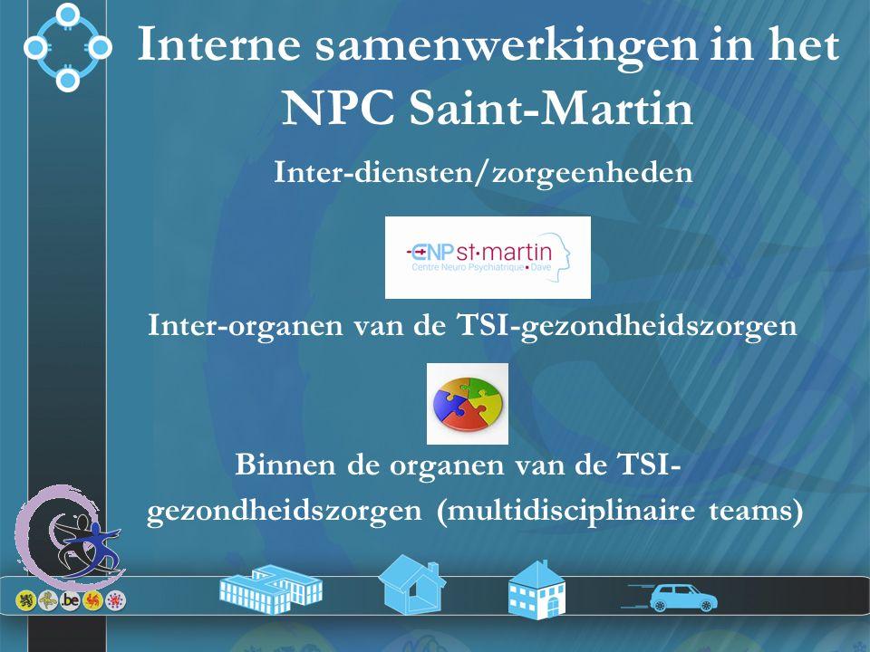 Inter-diensten/zorgeenheden Inter-organen van de TSI-gezondheidszorgen Binnen de organen van de TSI- gezondheidszorgen (multidisciplinaire teams) Inte