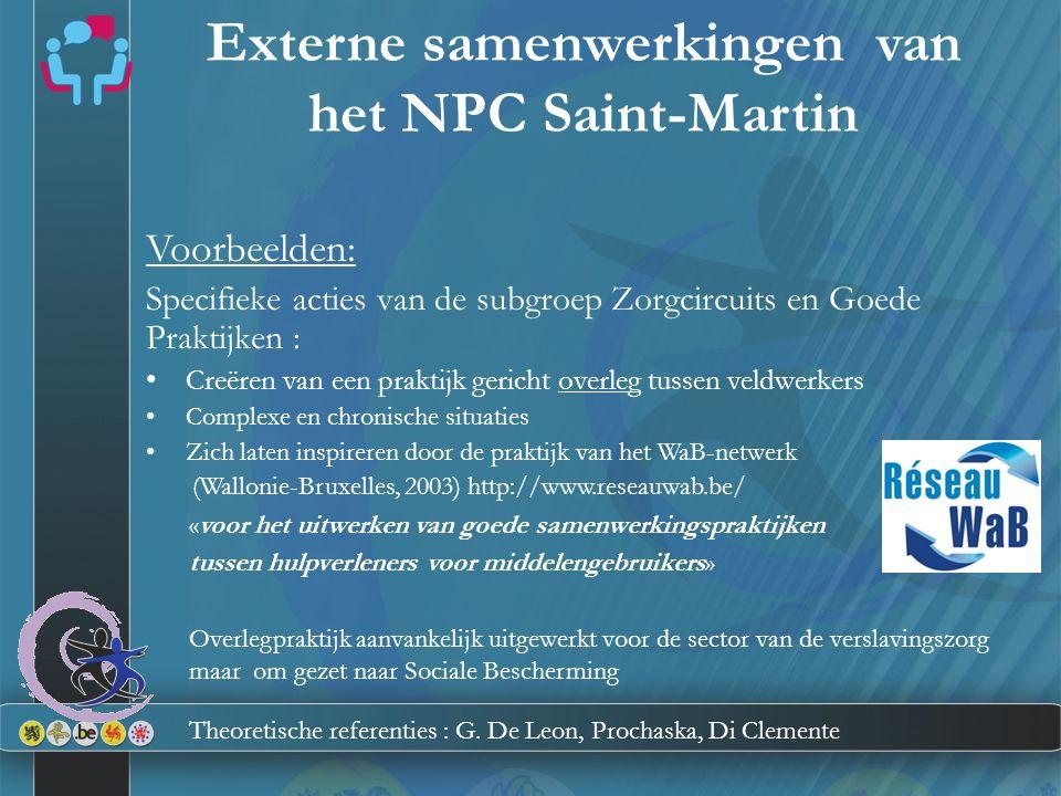Externe samenwerkingen van het NPC Saint-Martin Voorbeelden: Specifieke acties van de subgroep Zorgcircuits en Goede Praktijken : Creëren van een prak