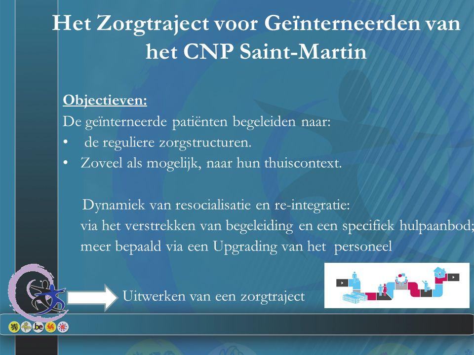 Het Zorgtraject voor Geïnterneerden van het CNP Saint-Martin Objectieven: De geïnterneerde patiënten begeleiden naar: de reguliere zorgstructuren. Zov