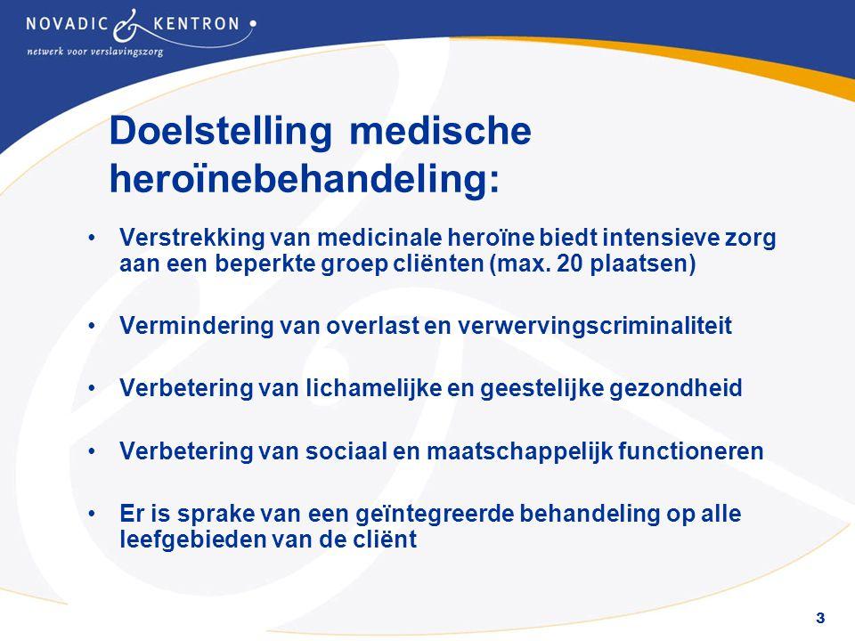 4 Richtlijnen en voorwaarden IGZ Verstrekking van medicinale heroïne moet voldoen aan strenge richtlijnen en protocollen van de IGZ en CIBH De behandelunit is niet gesitueerd in de nabijheid van een dag- en nachtopvang of Dienstencentrum Geen vermenging met andere doelgroepen Voor een ontheffing van de Opiumwet dient te worden voldaan aan centrale richtlijnen voor: opslag, registratie, beveiliging, transport en administratie